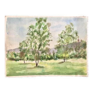Landscape Trees Watercolor Painting For Sale