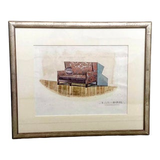 1940s French Design Firm Interior Rendering Watercolor Painting, Framed For Sale
