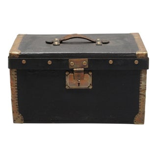 Old Black French Case/Box With Key & Brass Banded Edges For Sale