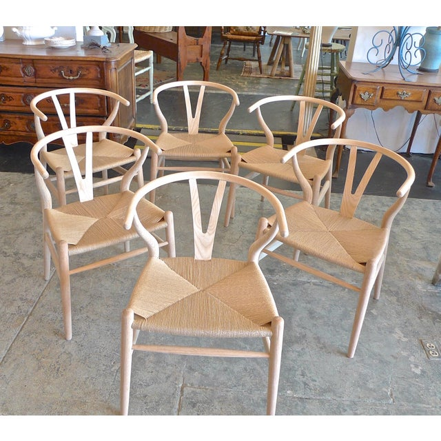Contemporary Danish 1960s Style Wishbone White Oak Riff Wood Arm Chairs - Set of 6 For Sale - Image 13 of 13
