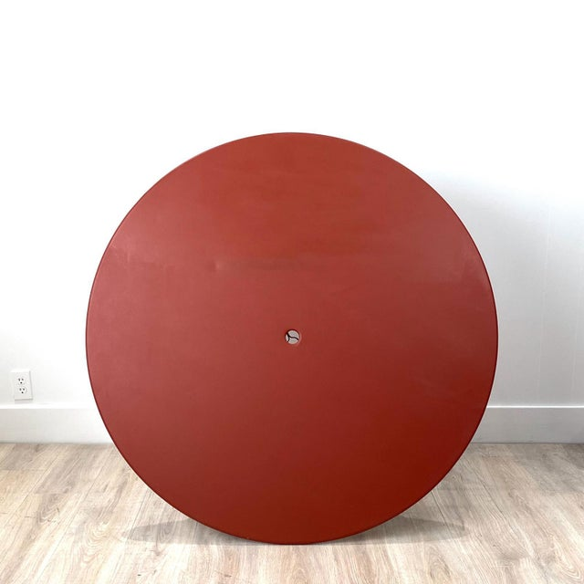 Large Mid-Century Vintage French Red Garden Table For Sale In San Francisco - Image 6 of 7