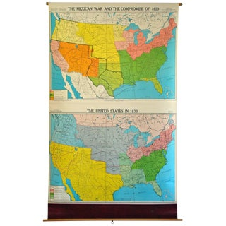 1950s Vintage School Wall Map For Sale