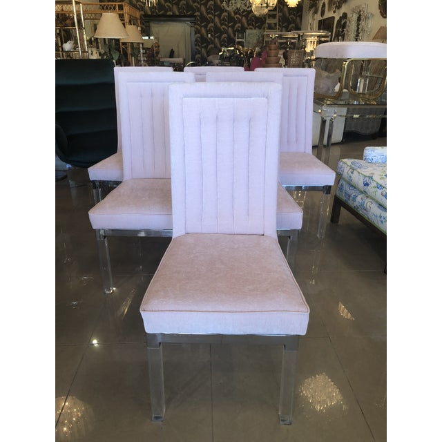 Chrome Charles Hollis Jones Lucite Dining Chairs - Set of 6 For Sale - Image 7 of 12