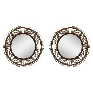 "Contemporary ""Oculus"" Round Rattan Mirrors - a Pair For Sale"