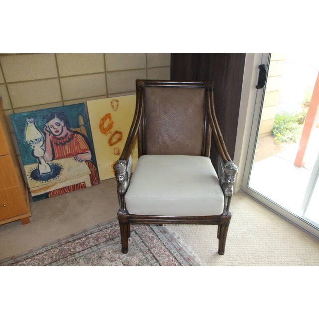 Egyptian Revival Cane and Leather Armchair With Sphinx Arms For Sale - Image 10 of 10