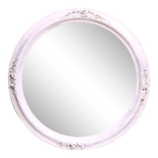 Vintage Blush Pink Round Mirror For Sale