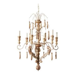 French Kimberly Faux Gilt 6 Arm Chandelier For Sale