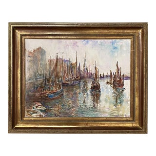 Framed Goache Painting by J. M. Guislain For Sale