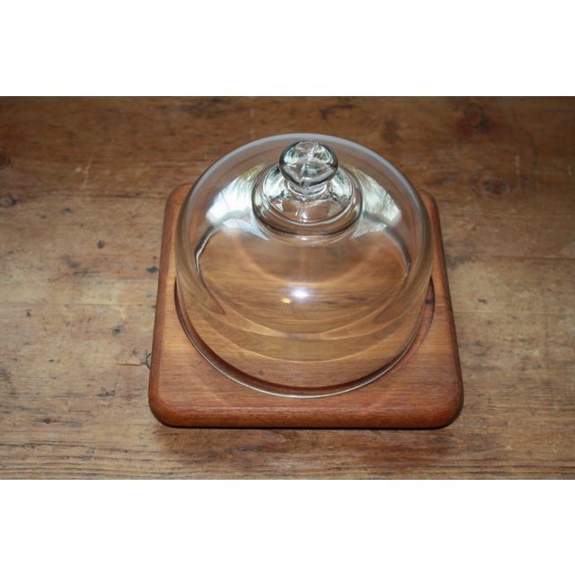 Mid Century Teak Cheese Tray with Glass Top - Image 4 of 5
