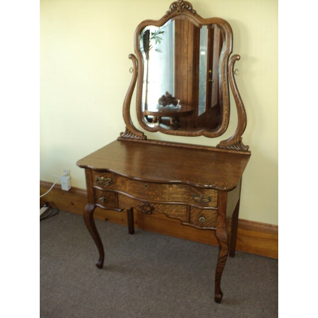 Antique Oak Vanity With Beveled Mirror - Image 2 of 6 - Antique Oak Vanity With Beveled Mirror Chairish