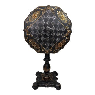 19th Century Victorian Tilt Top Mother of Pearl Checkerboard Games Table For Sale