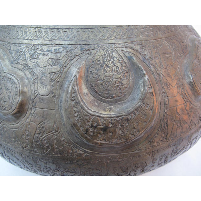19th Century Arabic & Hebrew Calligraphy & Egyptian Figures Hebraic Revival Brass Pot For Sale In Portland, OR - Image 6 of 10
