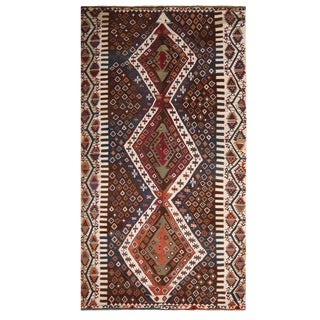 Vintage Mid-Century Manastir Diamond Beige-White and Burgundy Wool Kilim Rug- 6′2″ × 11′8″ For Sale