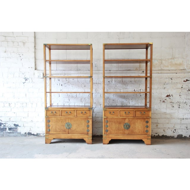 Michael Taylor for Baker Far East Collection Burl Wood Wall Units, Pair For Sale - Image 13 of 13