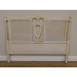 French Country White Painted Caned Queen Headboard Preview