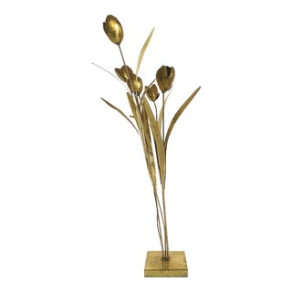 Vintage French Modern Brass Lotus Flower Floor Lamp