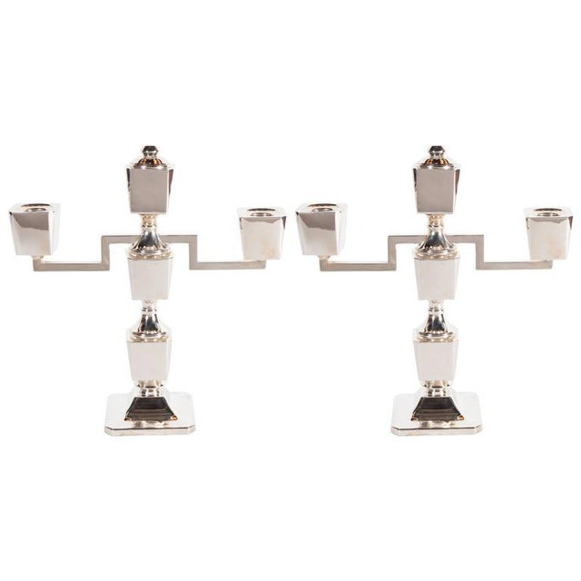 Gorgeous Pair of Art Deco Customizable / Adjustable Sterling Silver Candlesticks For Sale - Image 11 of 11