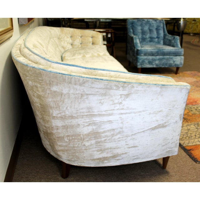 Textile Mid Century Modern Kroehler Suite Crushed Velvet Sofa Chairs Set 1950s - Set of 3 For Sale - Image 7 of 10
