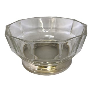 Mid-Century Italian Glass & Silverplate Footed Centerpiece Bowl For Sale