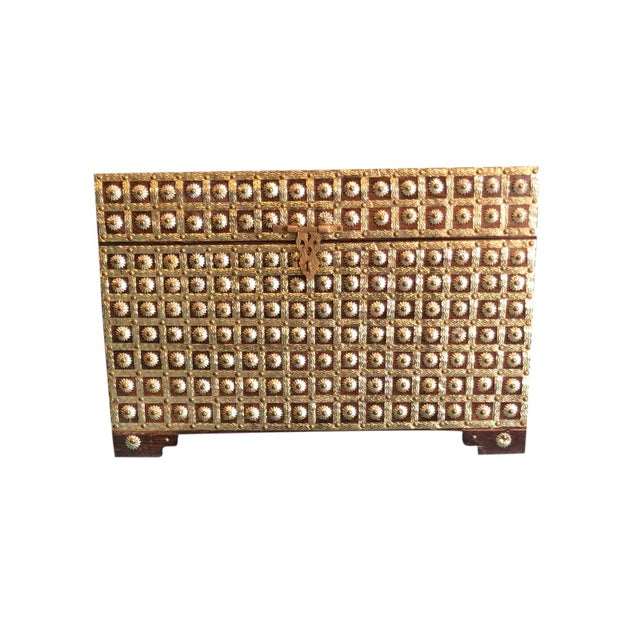 20th Century Asian Antique Brass Studded Chest Wedding Trunk For Sale - Image 4 of 4