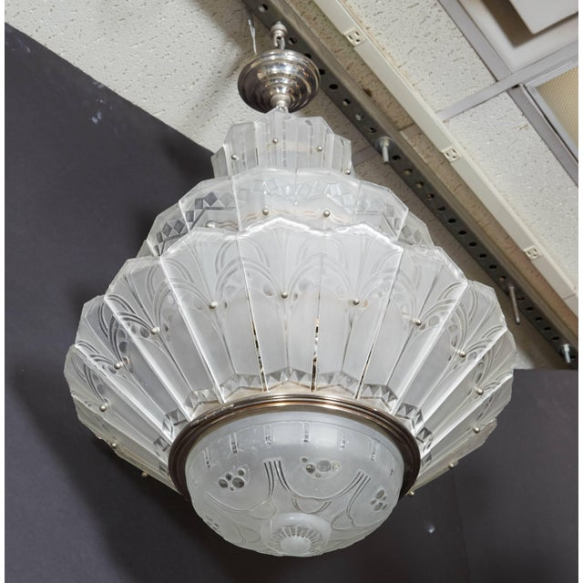 White Rare Original French Art Deco Tiered Sabino Chandelier For Sale - Image 8 of 12