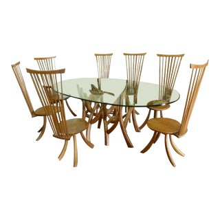 Jeffrey Greene Nakashima Protege Wood & Glass Top Table Dining Set For Sale