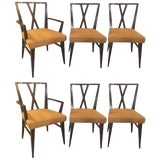Image of Set of Six Tommi Parzinger X-Back Dining Two-Arm Four Side Chairs For Sale