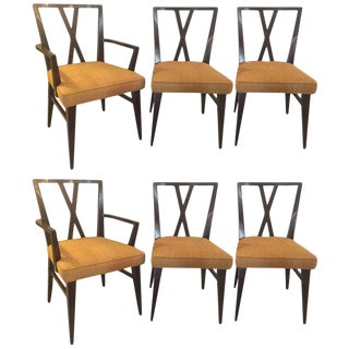 Set of Six Tommi Parzinger X-Back Dining Two-Arm Four Side Chairs For Sale