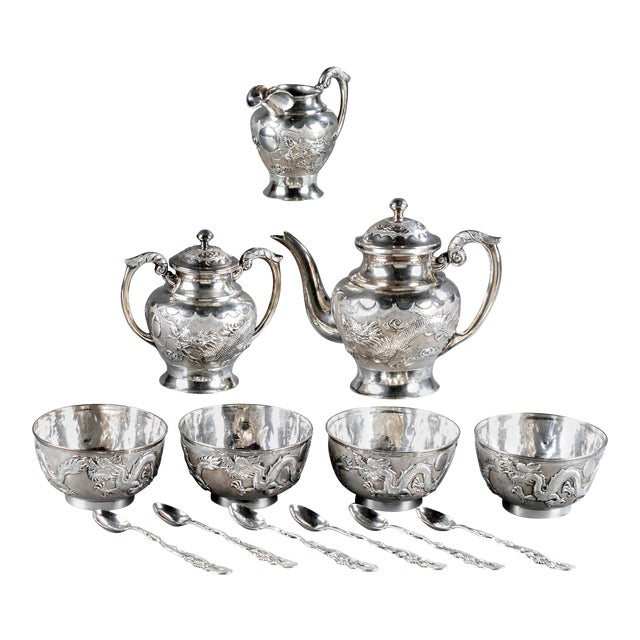 Chinese Export Sterling Silver Tea Set with Dragon Design Tianjing Wuhua - 13 Pieces For Sale