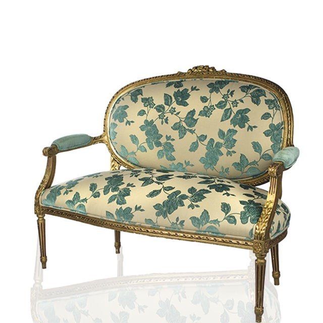 Chenille Upholstered Louis XVI Settee - Image 3 of 4