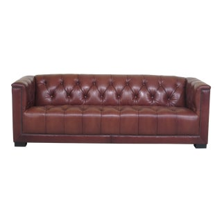 Modern Maitland Smith 3188 Tufted Brown Leather Sofa For Sale