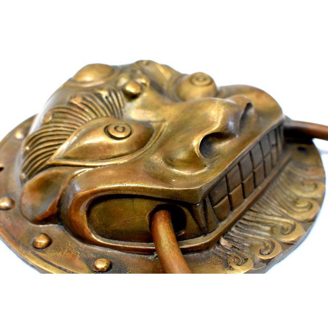 Late 20th Century Beast Motif Brass Knockers- a Pair For Sale - Image 11 of 13