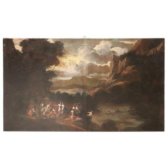 17th Century Italian Oil Painting on Canvas, Landscape With Figures For Sale - Image 13 of 13