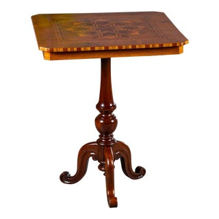 "Antique 1880s Italian ""Sorrento"" Inlaid Table For Sale"