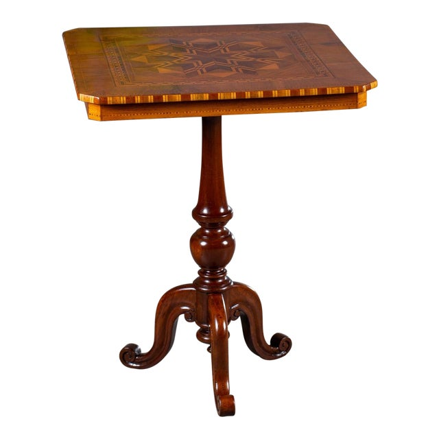 """Antique 1880s Italian """"Sorrento"""" Inlaid Table For Sale"""
