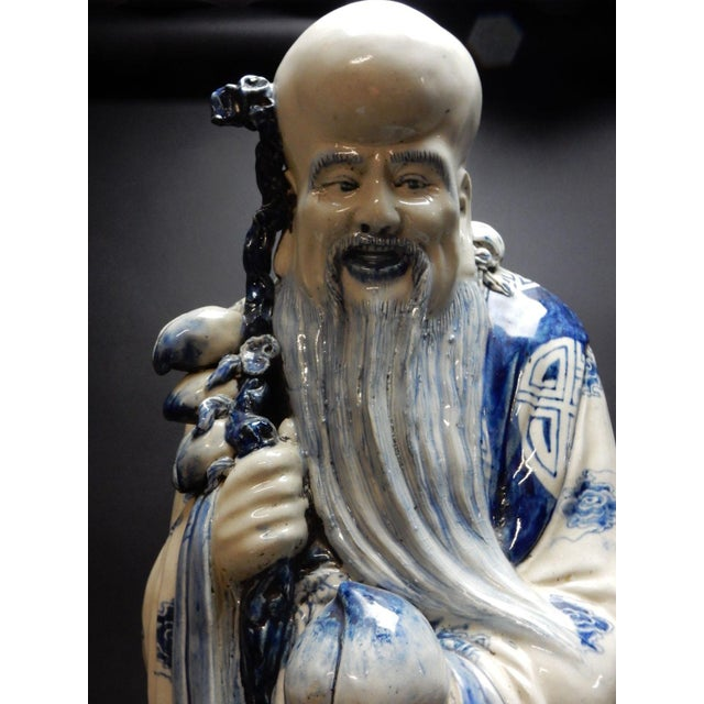 Ceramic Antique Chinese Blue and White Porcelain Statue of Shoulao 32 Inches For Sale - Image 7 of 13