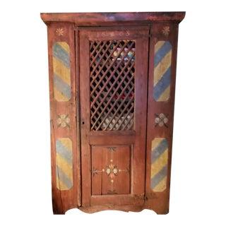 Primitive Painted Storage Hutch For Sale