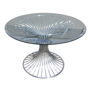 Warren Platner for Knoll Style Mid-Century Modern Chrome Glass Top Dining Table