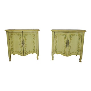 1940s French Provincial Venetian Yellow Side Tables - a Pair For Sale