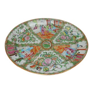 Large 19th Century Antique Chinese Export Rose Medallion Deep Well Platter For Sale