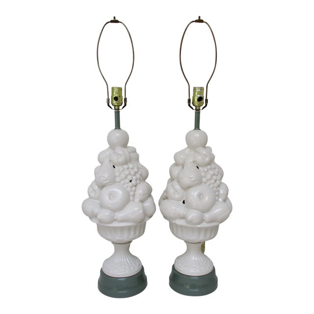 Ceramic Topiary Lamps - a Pair - Image 1 of 5