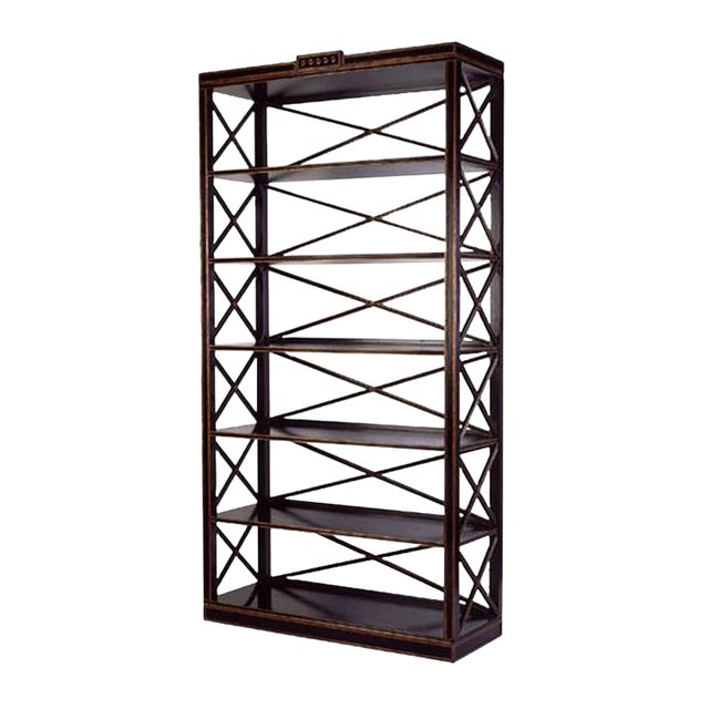 Charles Pollock Directoire Style Black & Gold Etagere Shelving Unit For Sale