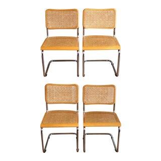 1970s Vintage Marcel Breuer Style Cesca Cane Cantilver Chairs- Set of 4 For Sale
