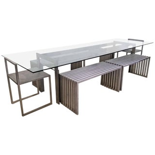Contemporary Philip Plein Steel Dining Suite with Chairs and Benches - Set of 7