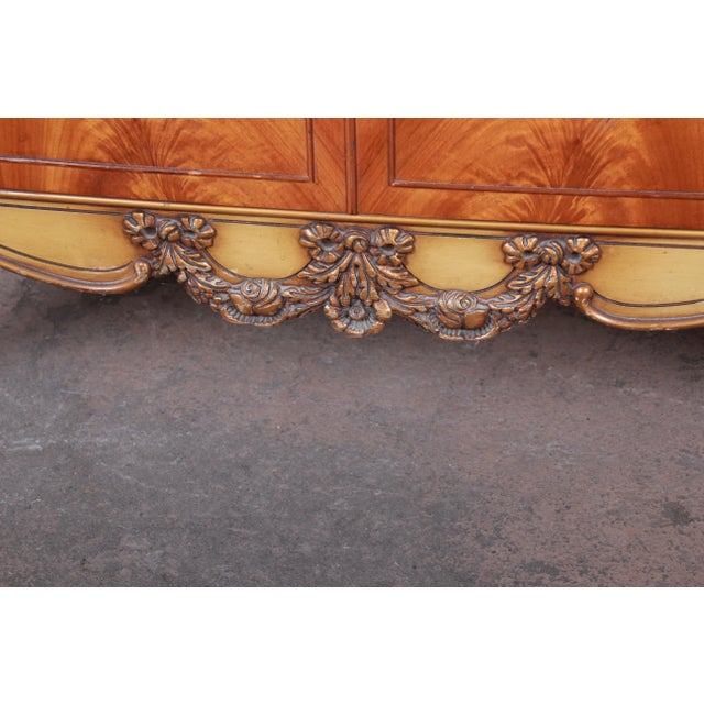 Metal Romweber French Provincial Louis XV Burled Mahogany Highboy Dresser For Sale - Image 7 of 13