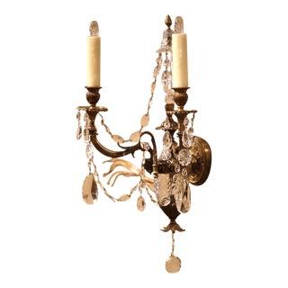 19th Century French Louis XVI Bronze & Cut-Glass 2-Light Sconces - A Pair