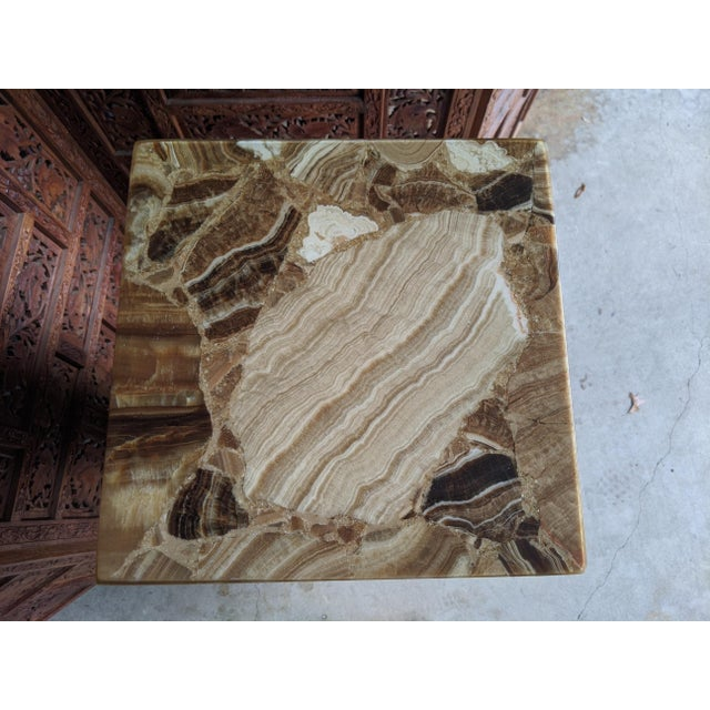 Stone Arturo Pani for Muller of Mexico Onyx Stone Pedestal For Sale - Image 7 of 13
