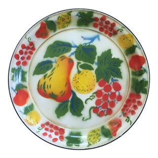 1950s Vintage Americana Fruit Enamelware Round Tray For Sale