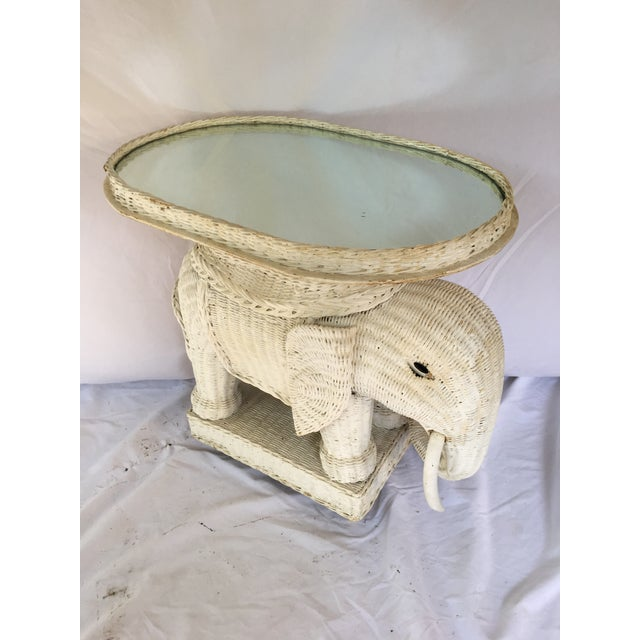 Vintage White Wicker Elephant Side Table With Mirrored Tray For Sale - Image 12 of 12