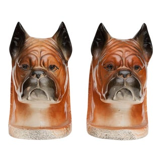 C. 1950s Boxer Dog Porcelain Bookends - a Pair For Sale